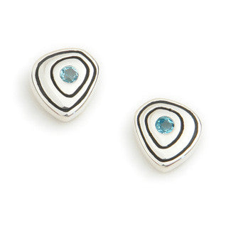 Blue Topaz (November Birthstone) & Sterling Silver Earrings CE126, Handmade by Ortak Jewellery