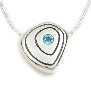 Blue Topaz (November Birthstone) & Sterling Silver Contemporary Pendant CP111, Handmade by Ortak Jewellery