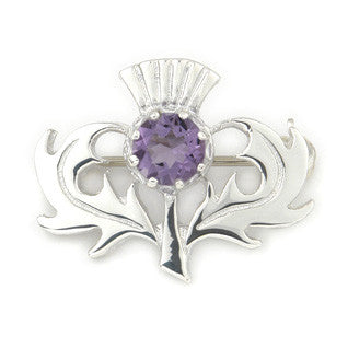 Violet Enamel 'Amethyst' and Sterling Silver or 9ct Yellow Gold Brooch CB33, Handmade by Ortak