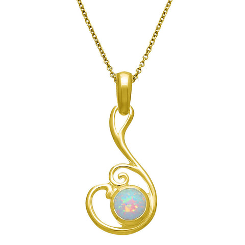 White Opal (October Birthstone) & 9ct Yellow Gold Pendant, SP293g, Handmade by Ortak of Scotland