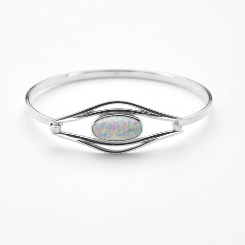 White Opal (October Birthstone) & Sterling Silver Bangle SBG29, Handmade by Ortak Jewellery