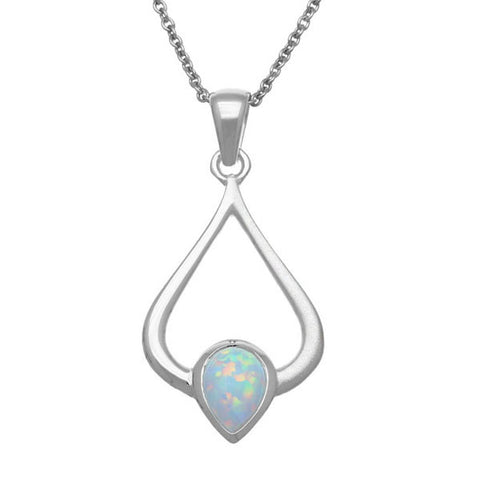 White Opal (October Birthstone) & Sterling Silver Pendant, SP296, Handmade by Ortak of Scotland