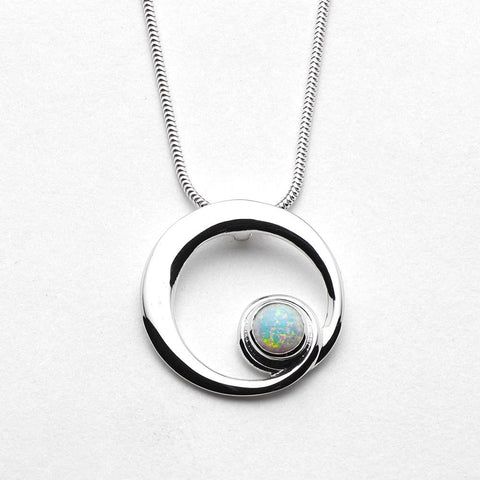 White Opal & Sterling Silver (October Birthstone) Circular Pendant SP278, Handmade by Ortak