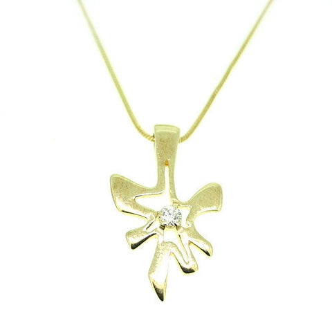 Yellow 9ct Gold and Diamond Pendant by Ortak Jewellery