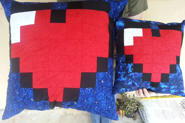 16bit heart, 8bit heart, 8bit pillow, geek, handmade pillow cover, heart pillow, legend of zelda, pieced heart, pieced pillow, pixel heart, pixel pillow, pixelated bedding, pixelated heart, retro pillow, the legend of zelda