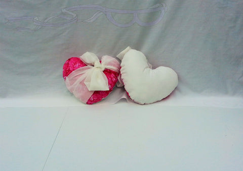 Pink Roses Heart Pillows with White Sashing