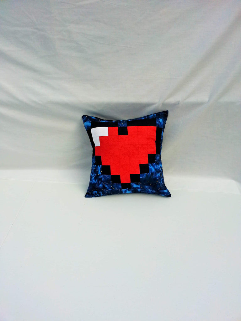 Pixelated Heart Pillow Cover with Envelope Opening and Starry Border.