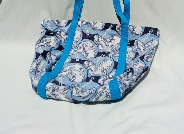 Roar means 'I love you' in dinosaur. Shoulder tote bag made from soft flannel dinosaur fabric.