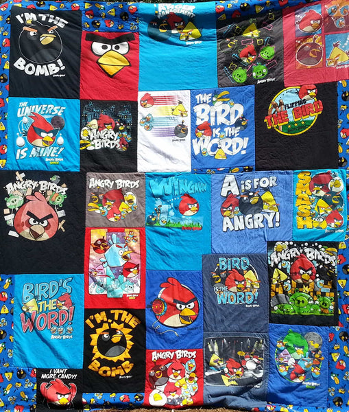 angry birds, angry birds t shirt, bachelor gift, bachelor gifts, Bedding, Bedroom, college gift, college gifts, eco friendly, Housewares, mosaic quilt, recycled tshirts, t shirt blanket, upcycle, upcycled, upcycled t shirt