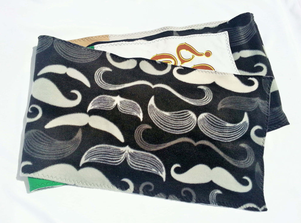 Men's scarf made from soft fleece and tshirts with varied funny moustache lovers phrases.