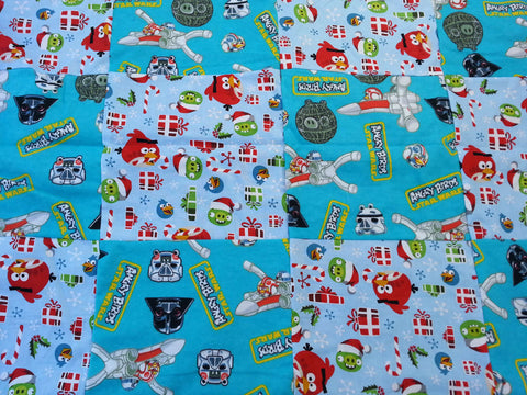 Star Wars Angry Birds fabric made into a small blanket.
