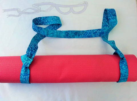 Blue adjustable sling for the yoga commuter.