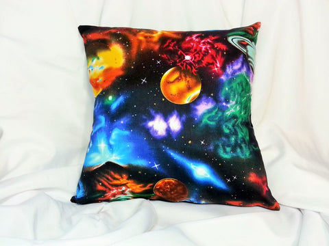 Galactic and starry sky fabric made into a cotton throw pillow cover for you.