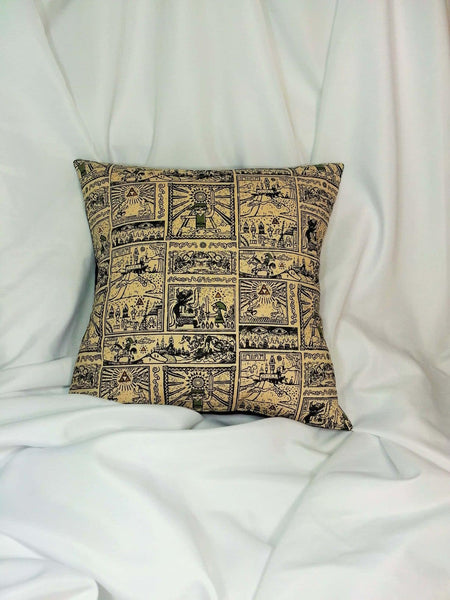 Legend of Zelda Nintendo fabric made into a cotton throw pillow cover for you.