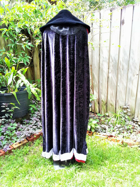 Black Red White, blood moon witch, blood rituals, Clothing, cosplay cloak, Costume, halloween costume, hooded cloak, larp, larp cloaks, medieval cloak, red black cloak, renaissance, velvet cloak, velvet cloaks