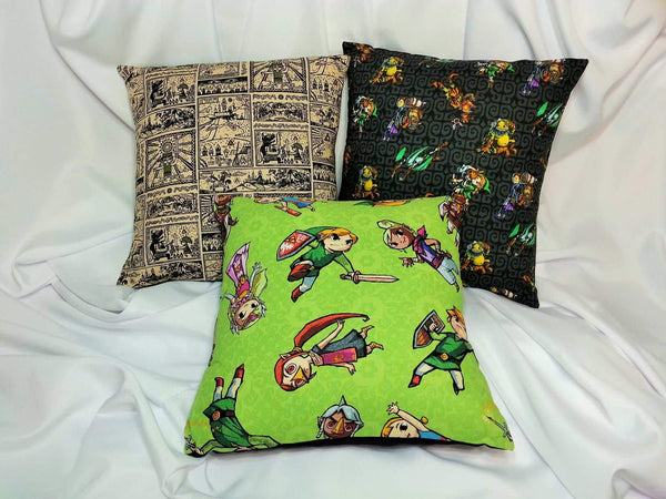 gamer pillow, hyrule, legend of zelda, Link, link and zelda, LOZ, the great sea, the legend of zelda, triforce, video game bedding, video game decor, video games, wind waker, wind waker scrolls, Zelda