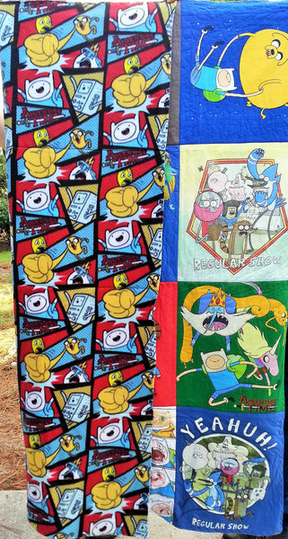 adventure time tshirts made into a cartoon quilt