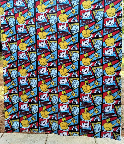 cartoon bedding made from adventure time tshirts