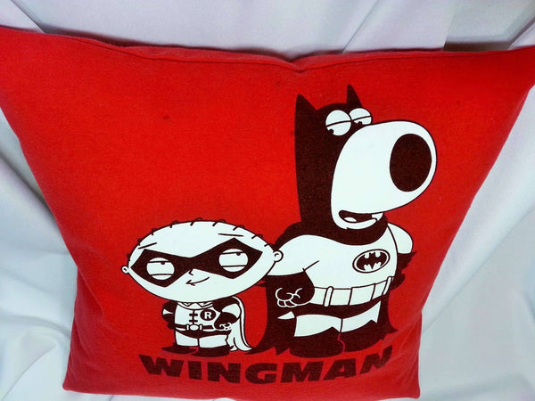 Brian Griffin, comic pillow, crossover decor, crossover parody, DC comics parody, Family Guy, Family Guy show, funny gifts, Housewares, parody pillow, Pillow, Stewie and Brian, Stewie Griffin, TV show gift, Wingman pillow