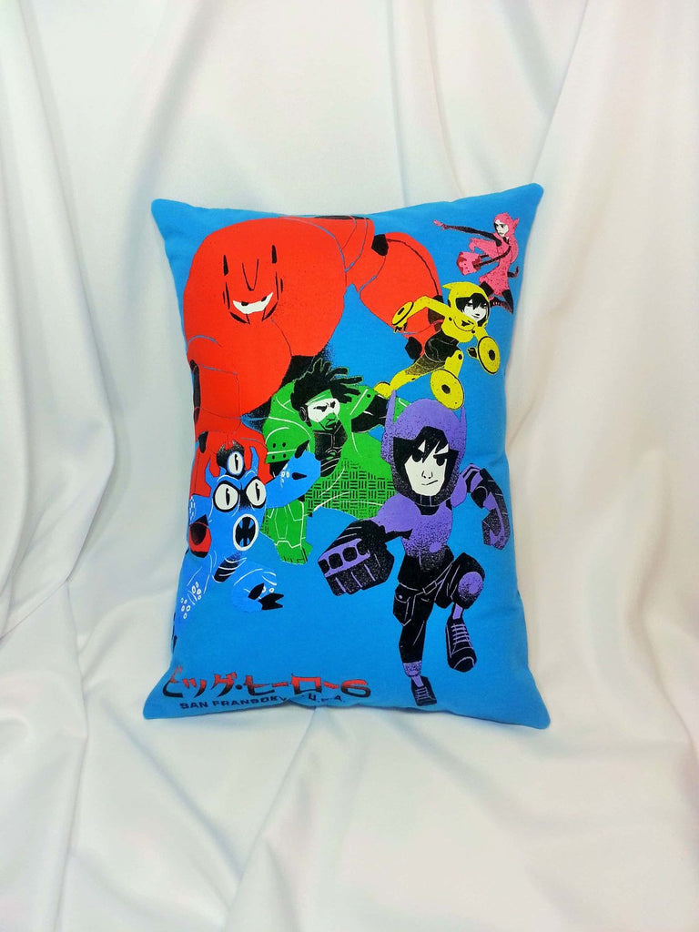 Big Hero 6 blue cotton t-shirt made into a decorative pillow cover.