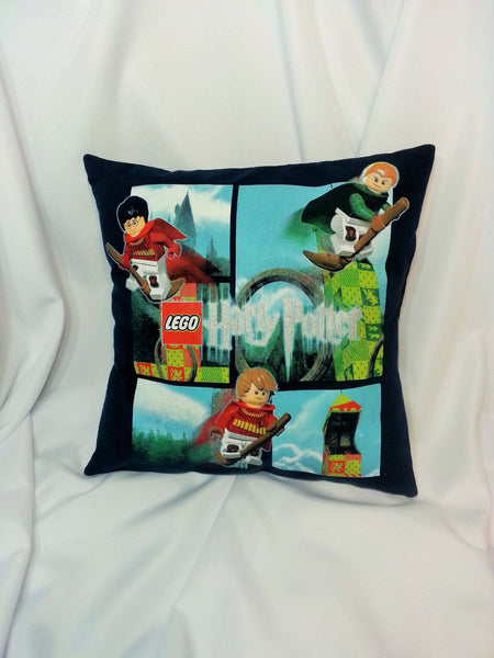 Lego Harry Potter cotton t-shirt made into a decorative pillow cover.