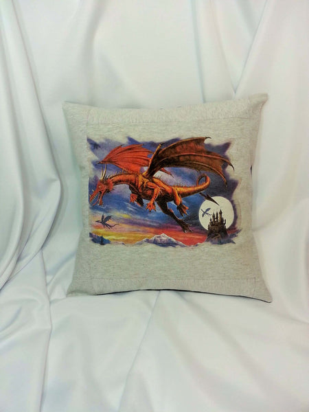 Red dragon pillow cover made with gray t-shirt.