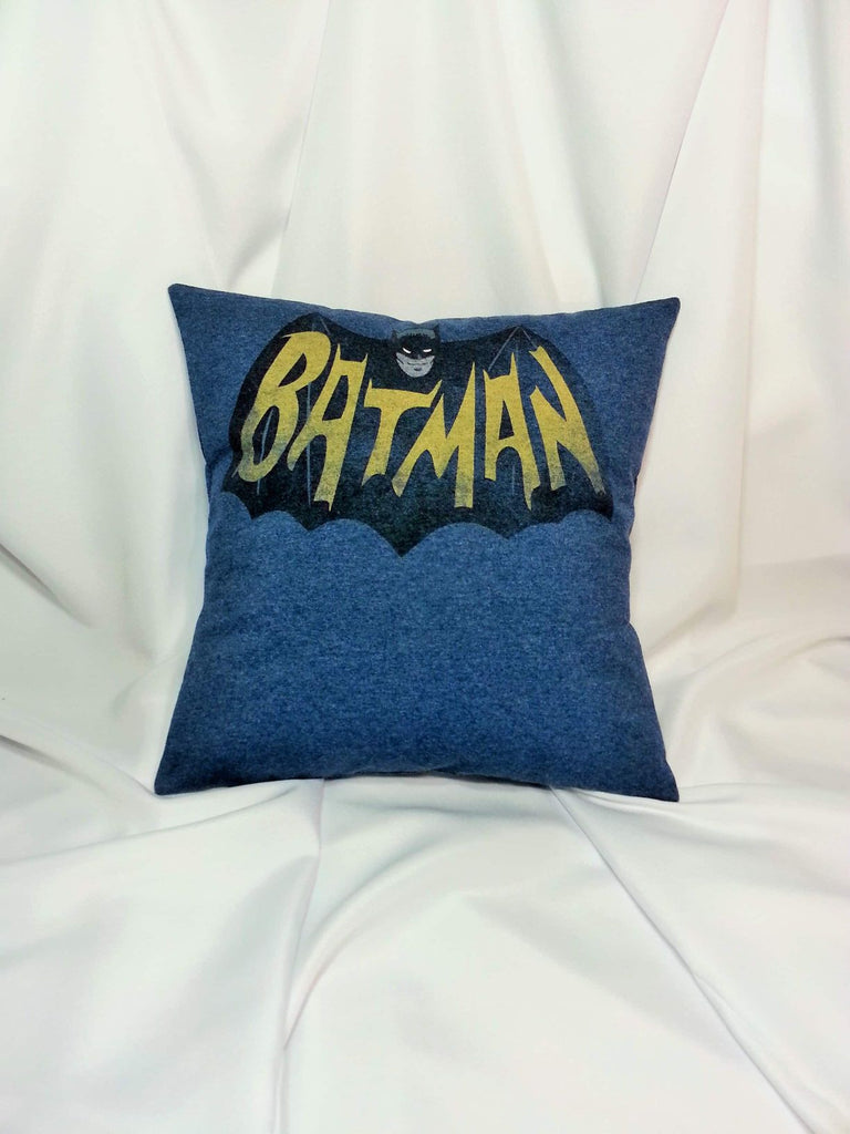 60's Batman Logo DC comics T-shirt made into a cotton pillow cover.