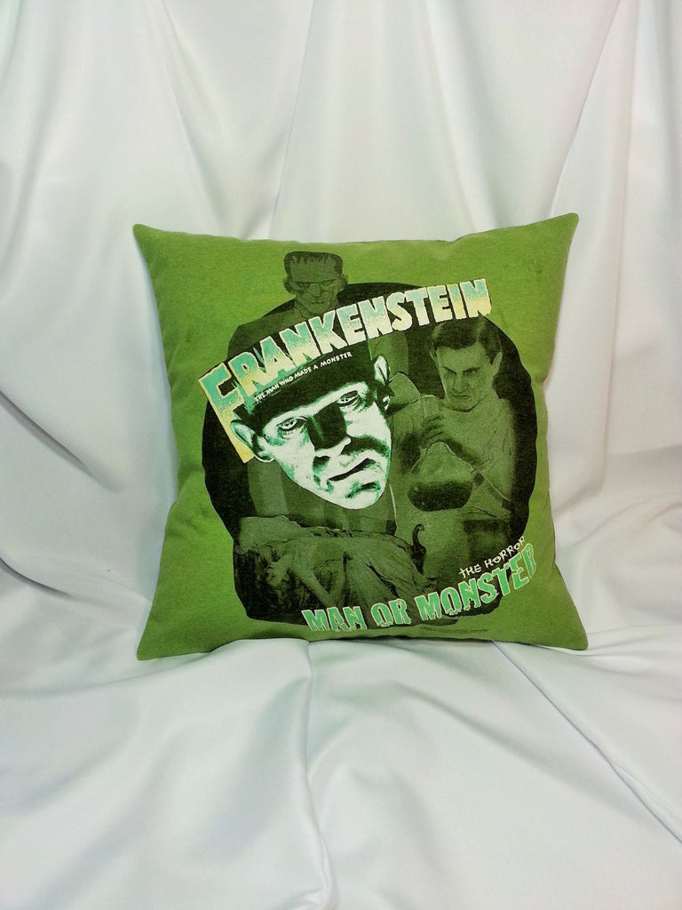 Frankenstein 30's movie poster t-shirt made into a decorative cover.