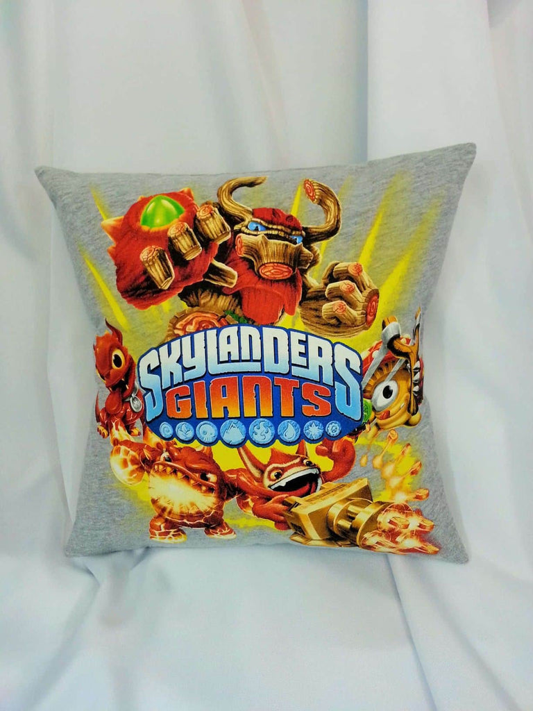 Skylanders Giant's T-shirt made into a decorative pillow cover. Tree Bark, Shroomboom, Eruptor, Hot Dog, and Trigger Happy