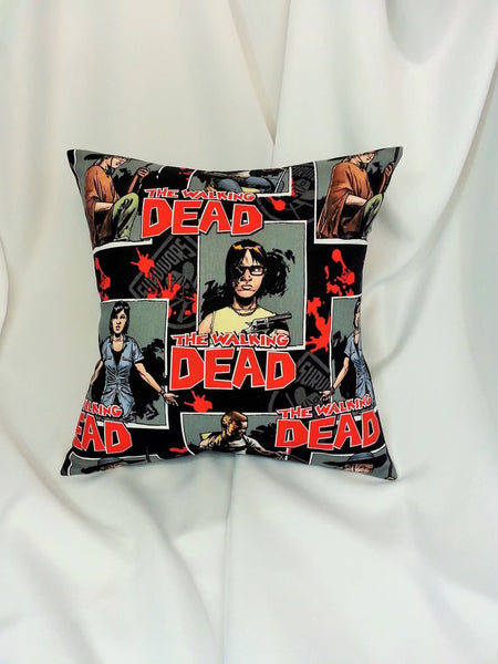 the walking dead fabric made into a throw pillow