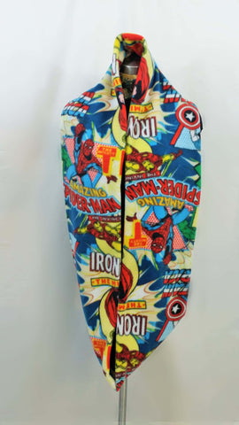 marvel fleece made into a thick infinity scarf with mittens