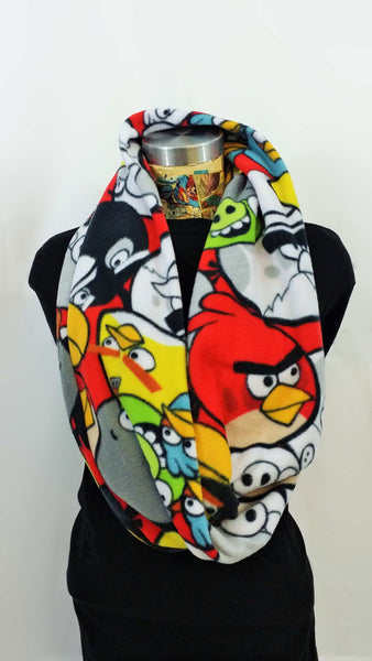 Thick infinity scarf made from angry birds fleece fabric