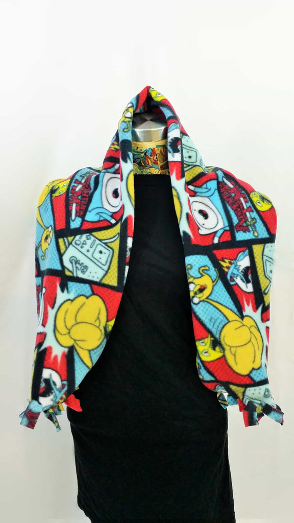 adventure time fleece fabric made into a fluffy scarf