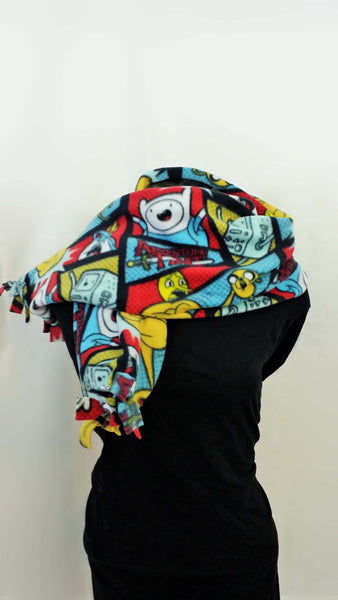 adventure time fabric made into a thick fleece scarf, cartoon scarf