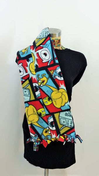 Jake the human, finn the dog, bmo and more on a scarf made from adventure time fabric