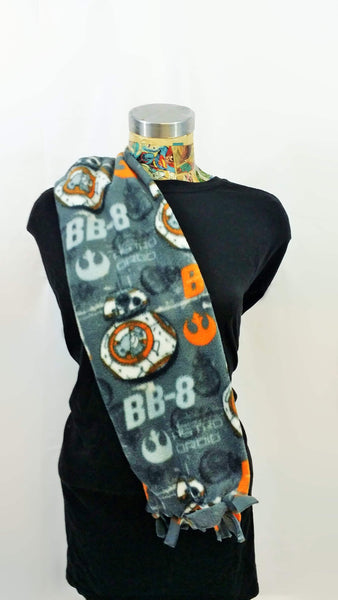 Star wars bb8 fabric made into a fleece scarf