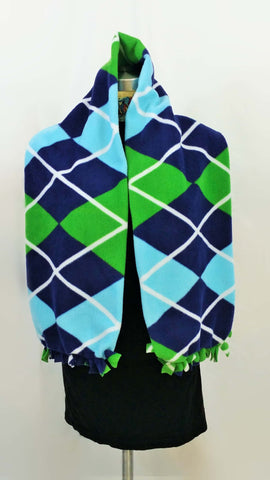 Argyle blue and green fleece scarf