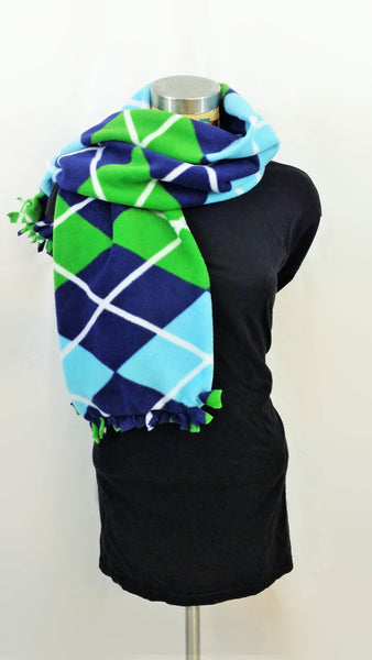 Blue and green argyle men's scarf