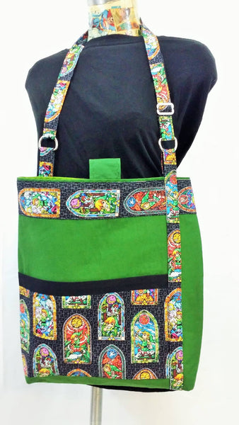 Legend of Zelda Stained Glass fabric made into a Unisex bag, Men's video game bag