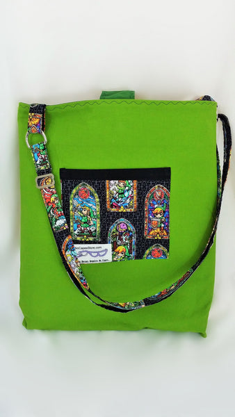 Legend of Zelda Stained Glass fabric made into a bag, video game gift