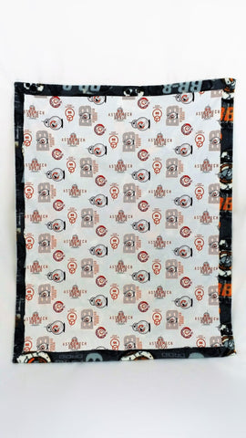 Star Wars BB8 fabric made into a small blanket, wheelchair blanket