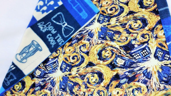 Exploding Tardis fabric made into a small blanket, car blanket