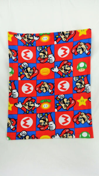 video game blanket made from Super Mario Brothers fabric