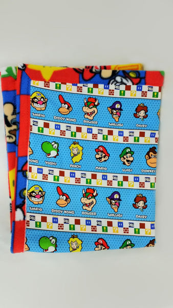 lap blanket made from Nintendo Super Mario fabric