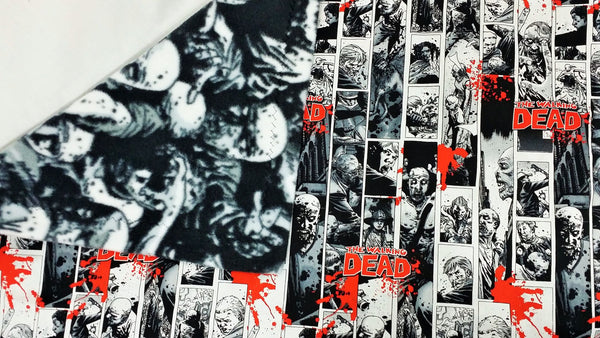Walking Dead fabric made into a small blanket, comic blanket