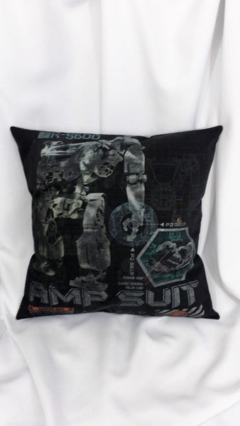 James Cameron Avatar 2009 movie tshirt made into a decorative throw pillow with the AMP suit schematic.