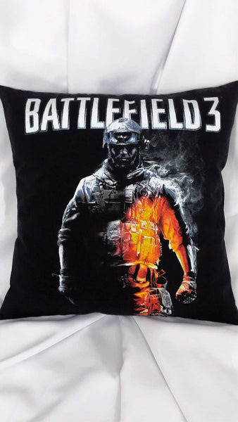 Battlefield 3 poster of military man walking confidently on a black background tshirt made into a decorative throw pillow.
