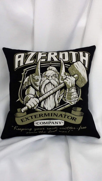 Video game bedding made from World of Warcraft Azeroth Exterminator shirt.