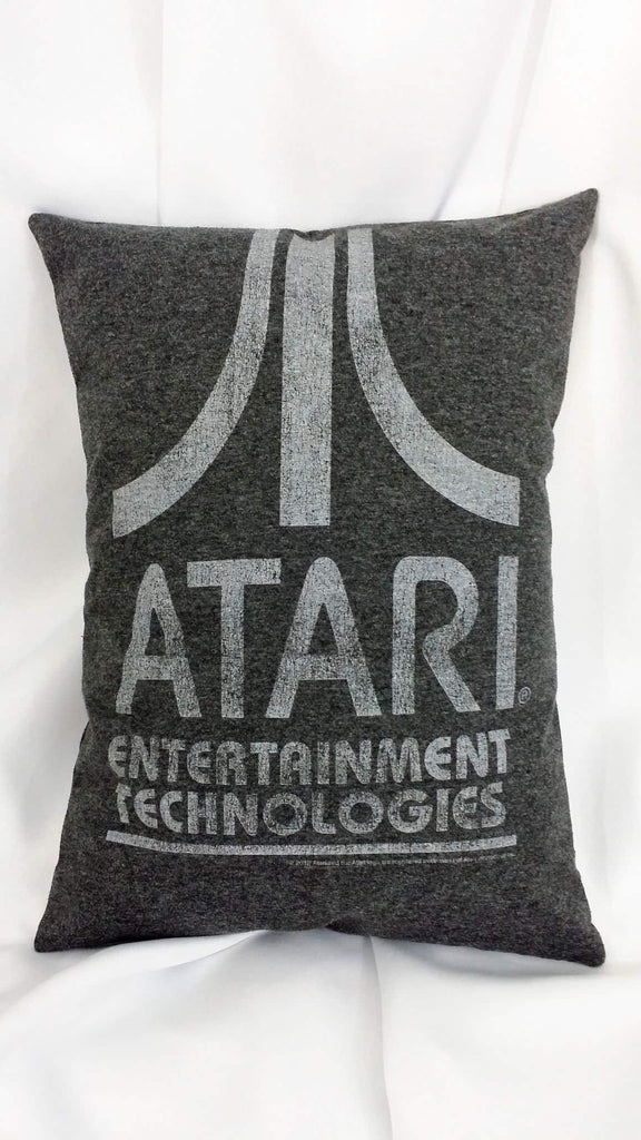 Atari t-shirt made into a pillow cover. Gamer bedding