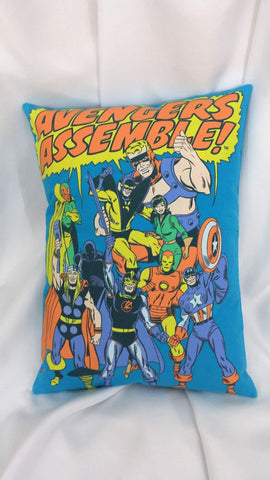 This comic book bedding is made from a Marvel Comics tshirt. The design features the old school representation of the 1960's Avengers. It has Vision, Captain America, Thor, Yellowjacket, Wasp, Black Panther, Iron Man, Black Knight, and Goliath in action poses.